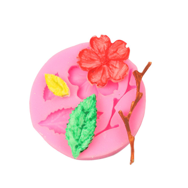 New manufacturer direct selling DIY peach flower branch silicon gum baking tool silicon glue mold silica gel cake