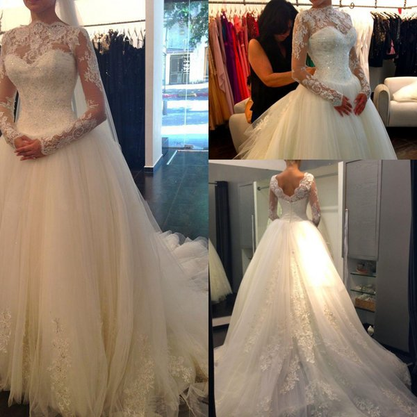 2018 Vintage Tulle Jewel Lace Applique Bridal Gown Sequins Long Sleeve White Full Length Exquisite Ball Gown Wedding Dress Free Shipping