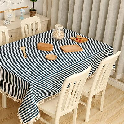 8 Colors Stripe Dot Linen Table Cloth with Tassel Hotel Blanket Towel Home Decor Wedding Party Decoration Kitchen Accessories