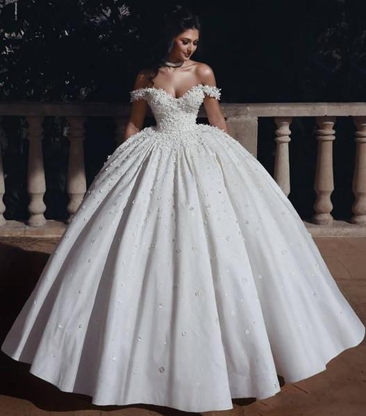 Said Mhamad Luxury Plus Size Ball Gown Wedding Dresses Off Shoulder Floral Lace Applique Long Wedding Dresses Bridal Gowns vestidos de novia