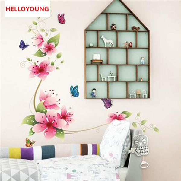 Removable Mural Flowers And Butterflies Window Sticker Bedroom Wall Stickers Home Decor Wall Decals Kids