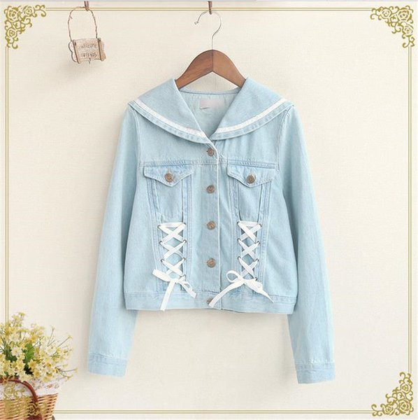 Cute Girls Sailor Collar Denim Jacket Preppy Long Sleeve Lace Cross Short Type Coat Designer Leather Jackets Avirex Leather Jackets From Love8love