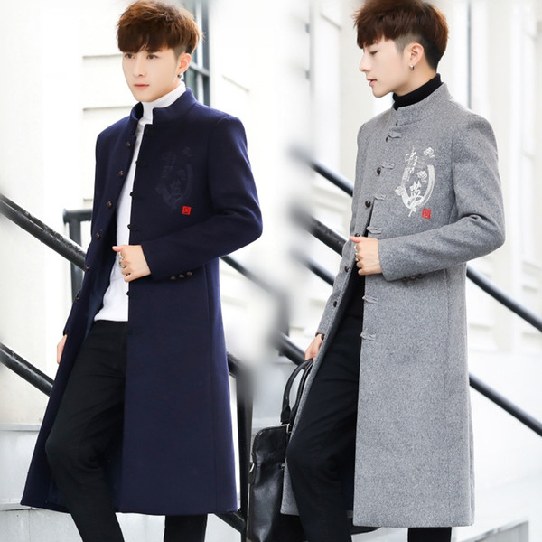 Mens Winter Wool Coats And Jackets Long Sport Button Slim Fit Coats Cotton Clearance Mens Parka Big Size Blue