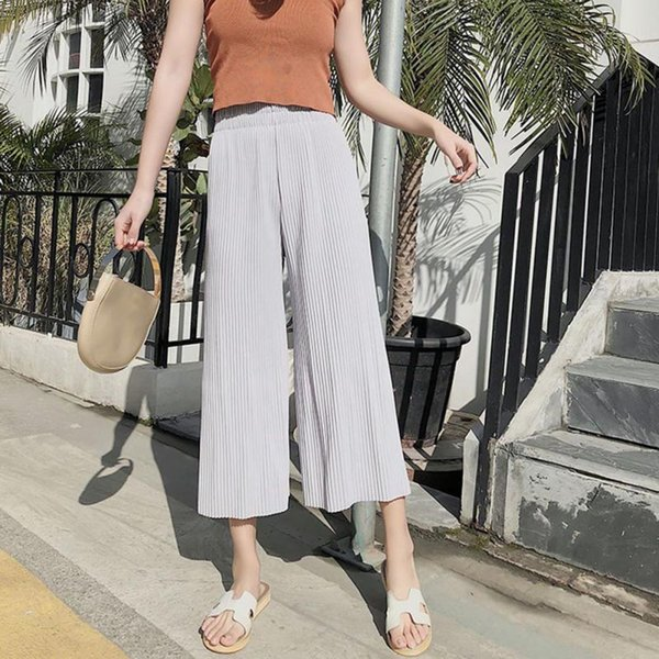 Wide Leg Pants Pleated Stretchy Chiffon Legs Summer High Waist Loose Long Fashion Sexy Pant
