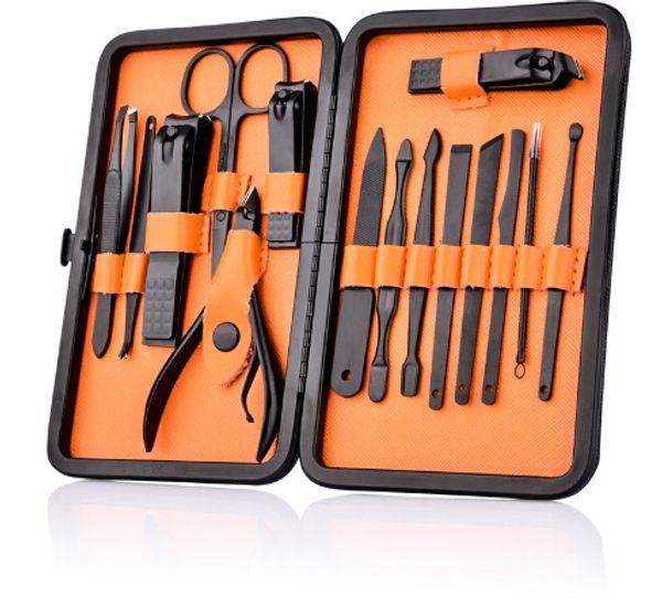 15 pezzi in acciaio inox nero tagliaunghie cutter trimmer orecchio pick grooming kit manicure pedicure toe nail set set con custodia