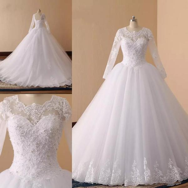 Design simples Vestidos de Casamento Manga Longa Tripulação Pescoço de Prata Lantejoulas vestido de Baile Tribunal Trem Vestidos de Noiva, Vestidos de Noiva de alta Qualidade