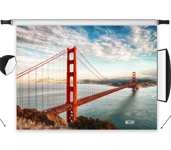 Commercio all'ingrosso Poliestere Vinile Golden Gate Bridge River View Fondali Sfondo Per Fotografia Studio Sfondo Foto Puntelli Decorazione