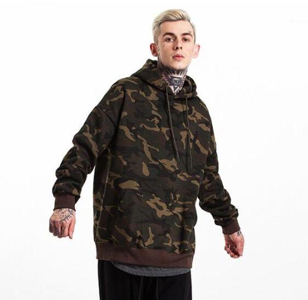 Sonbahar ve kış giymek Avrupa ve Amerikan kahve kamuflaj kalınlaşma artı kadife gevşek erkek kapüşonlu kazak erkek ceket