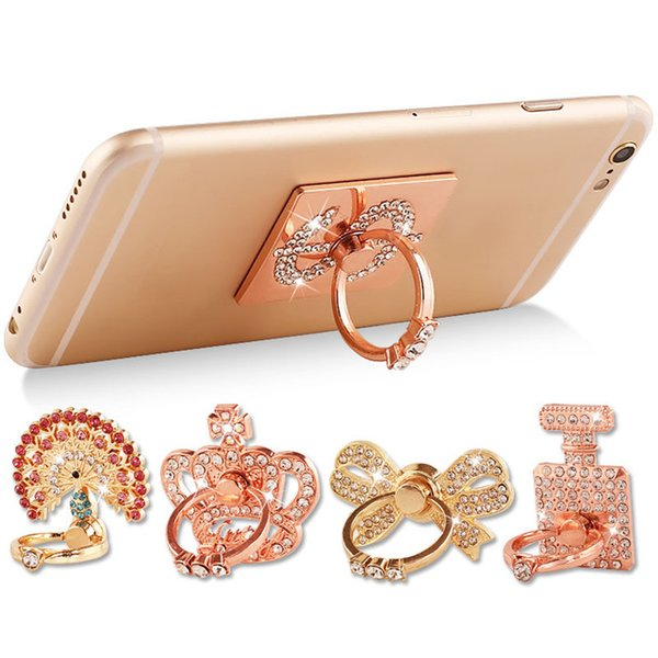 Universal Peacock Butterfly Swan Perfume Bottle Crown Phone holder Finger Ring For iphone Huawei Samsung Xiaomi