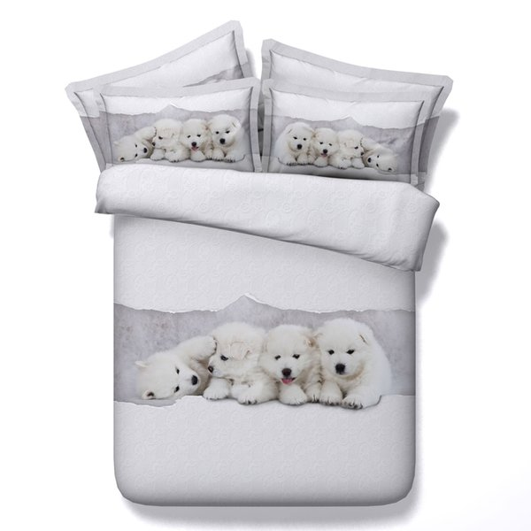 3D adorable bedding sets dog duvet cover puppy bedspreads white comforter cover Bed Linen Quilt Covers silver bed cover for children kids