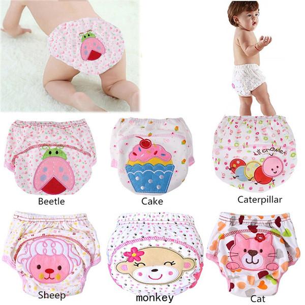 1 Unid Pañales Lindos Pañales Reutilizables Pañales de Tela Lavable Infantes Niños Bebé Pantalones de Entrenamiento de Algodón Bragas Pañales Cambiando