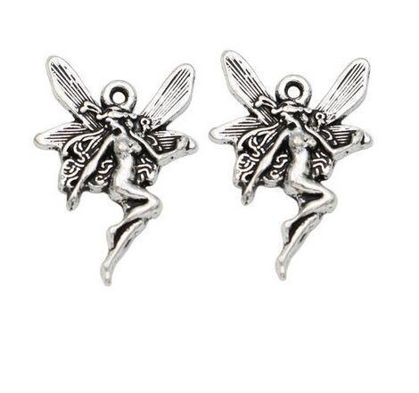 200 Adet alaşım Melek Peri Charms Antik gümüş Takılar Kolye kolye Takı Yapımı bulguları Için 21x15mm