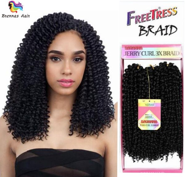 Synthetic Hair Extension 3x braids 3pcs/pack 10inch freetree Crochet deep wave jerry curly Twist Braiding Hair For African American Women