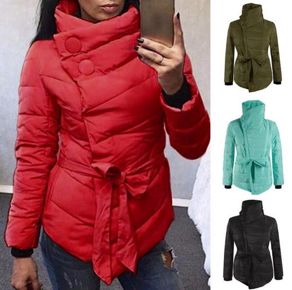 Warm Winter Coat Women Long Sleeve Irregular Jacket Cotton Outwear Irregular Padded Warm Parka Overcoat Tops 4 Colors LJJO4383