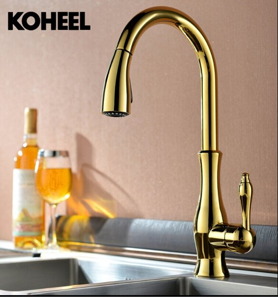High Quality New Deluxe Pull Out Spray Kitchen Faucet Mixer Tap,Pullout Sprayer Kitchen Faucet Gold Plating Brass Material