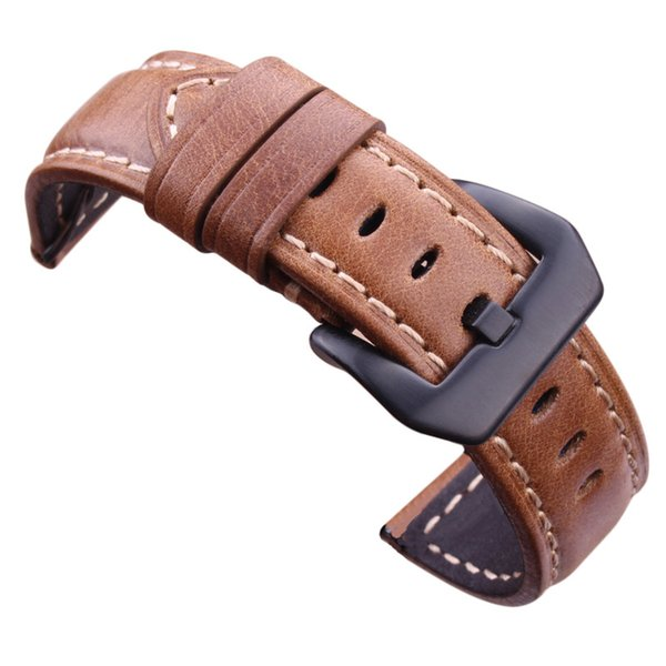 Watchbands Retro Genuine Leather Brown Men 20mm 22mm 24mm Soft Watch Band Strap Metal Pin Buckle Accessories For Panerai