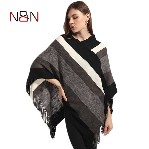 Winter Casual Sweater Women Knitted Poncho Tassel Thick Sweaters Pullover Batwing Sleeve Jumper Striped Sleeveless Plus Size