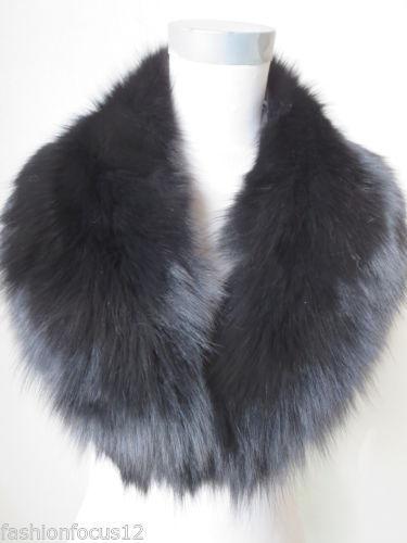 Nouveau col en fourrure de renard fait main / écharpe / noir