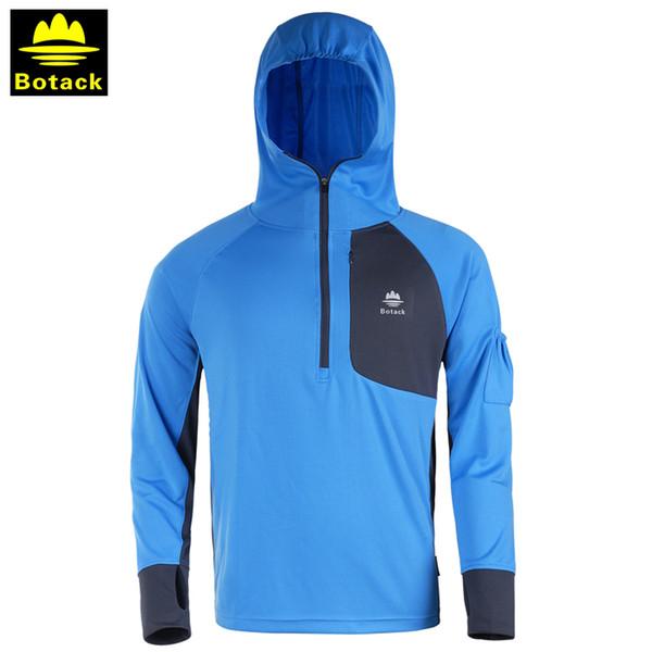 Açık erkek hoodie T-shirt güneş yarım fermuar giyim erkekler nefes UV kamp yürüyüş uzun kollu kapüşonlu balıkçılık gömlek