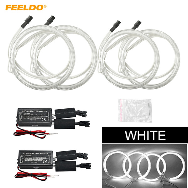 FEELDO 4x Car CCFL Halo Rings Angel Eyes LED Headlights for Lifan Solano DRL Car-Styling White #1351