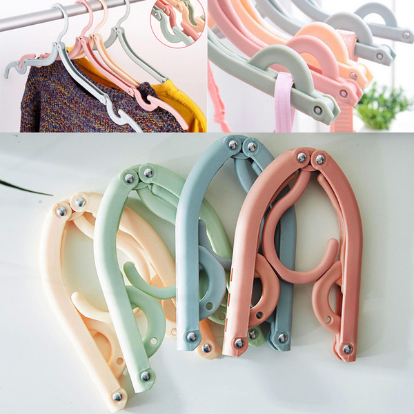 Multifunctional Hangers Space Saver Travel Portable Folding Hanger Rack Outdoor Clothes Hangers Magic Plastic Antiskid Racks 4 color WX9-613