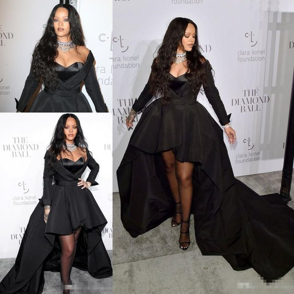 a1aadba8d5 2018 Rihanna Formal Dresses Sweetheart Long Sleeve High Low Style Prom  Dress Black Satin Celebrity Evening
