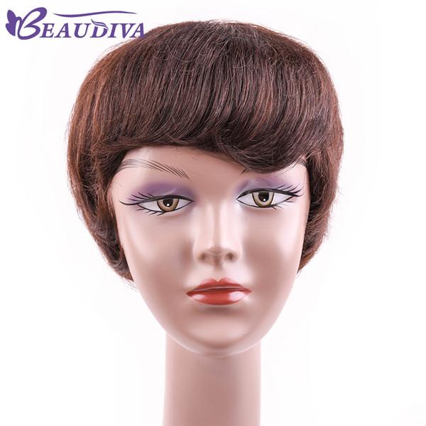 Beaudiva Human Hair Wigs Rihanna Dark Brown Human Brazilian Hair Short hair Wigs For Black Women African American Celebrity Wig