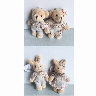 2PCS/LOT Kawaii Teddy Bear&Rabbit Couple Plush Toy Stuffed Animal Soft Doll Bears Stuffed Plush Pendant Wedding Gifts WXZ010