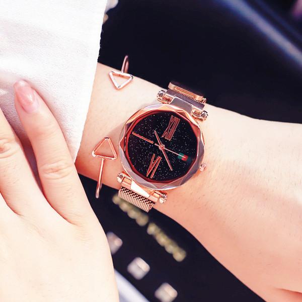 Fashion Rose Gold Women Watch Minimalism Roman Numeral Magnet buckle Female Quartz Wristwatch Starry Sky Unique Lady Clock Gift