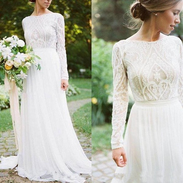 Long Sleeve Wedding Dresses 2018 Modest Jewel Neck Full back Lace Tulle Muslim Hijab Outdoor Country Garden Boho Bridal Wedding Gown