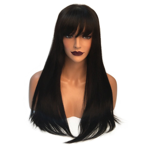 100% unprocessed beauty soft shine aaaaaa virgin human hair natural color silky straight long full lace top wig for sale