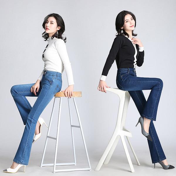 Women Autumn Slim Fit Vintage High Waist Elegant Flare Jeans Woman Plus Size Stretch Skinny Sexy Jeans Pants Denim Trousers