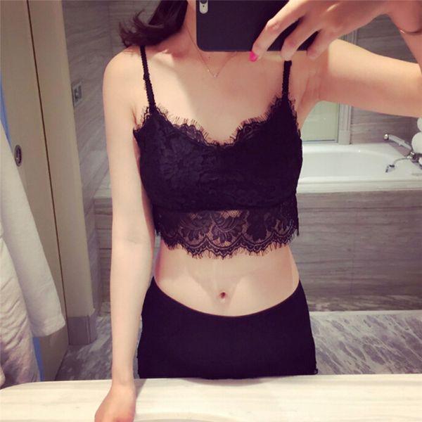b3a4bb30e0dbc4 sexy colete European style cropped halter top Women sleeveless lace top  femme vest bustier black bustiercrop