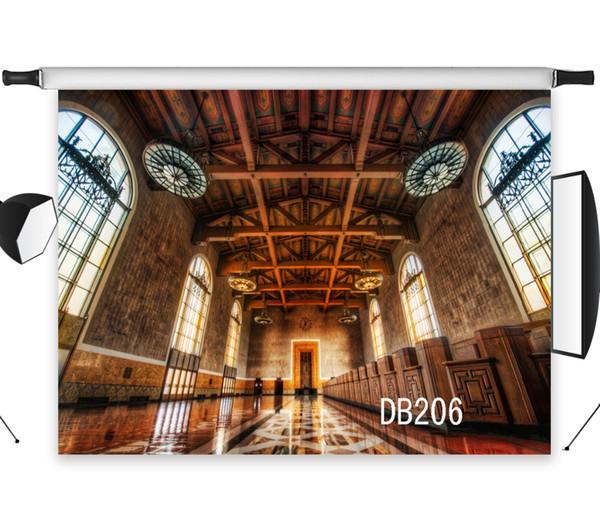 Оптовая полиэстер винил Церковь интерьер от пола до потолка окна фонов фон для фотостудии фон фото реквизит