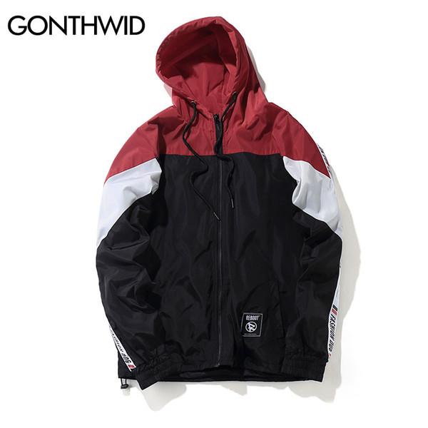Moda o-collo color block patchwork giacca a vento giacche con cappuccio uomo hip hop full zip up pullover tuta giacca moda streetwear
