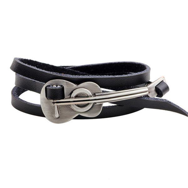 Fashion Leather Bracelet Men Women Vintage Alloy Guitar Violin Charm Bracelets bangles Punk Jewelry gifts