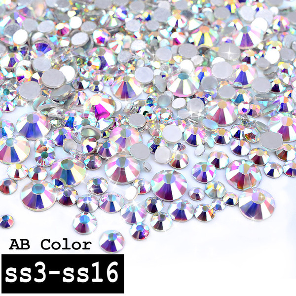 1 Pack Crystal AB Color Mixed (SS3-SS16) Glass Nail Art Rhinestones Gems Non Hix Flatback 3d Nail Jewelry Decoration Tools