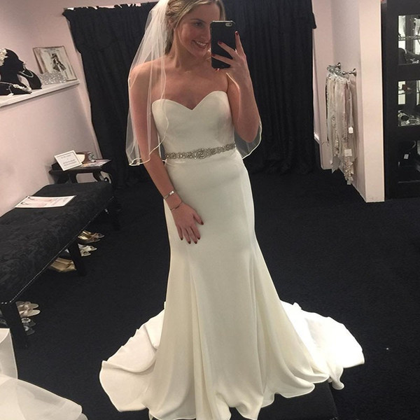 2019 Mermaid Sweetheart Bridal Gown Sweep Train Ivory Wedding Dress with Beading Elastic Silk Like Stain For Garden Rustic Bohemian