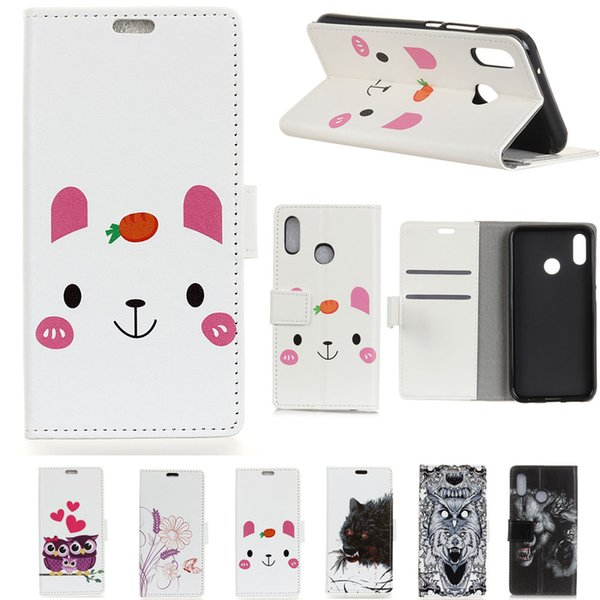 50Pcs/Lot New Cartoon Luxury Leather Case For Xiaomi Redmi 6 Note F1 Poco F1 A2 Lite A2 Mi 6X Redmi 6 Pro 6A Y2 Mi 8SE Bird Small Bear Wolf