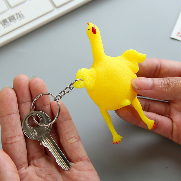 Stress Relief Toy Lay Egg Chicken Keychain Toy Kids Birthday Party Favor Halloween Vent Gadgets Toys