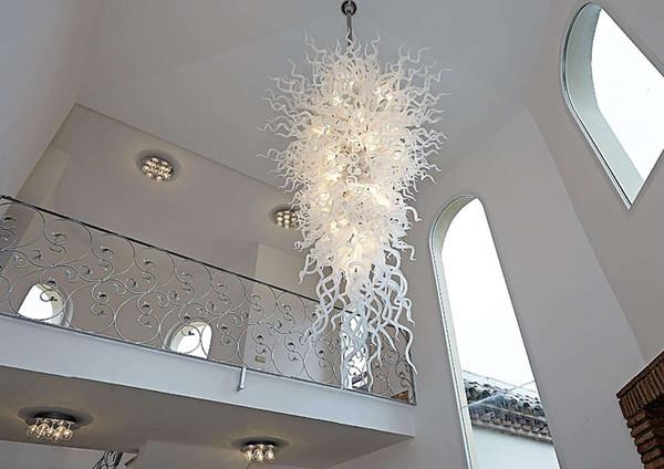 Venta caliente color blanco puro vidrio soplado a mano estilo Chihuly lámpara de cristal de iluminación del vestíbulo del hotel decoración
