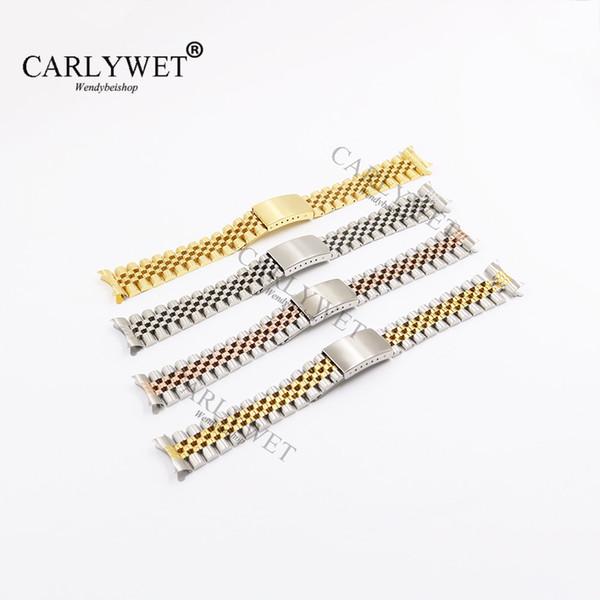 CARLYWET 19 20 22mm Deux creux Tone courbe End vis solide Liens de remplacement du bracelet montre bracelet Old Style Bracelet Jubilé