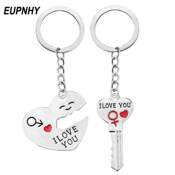 EUPNHY New 2Pcs Heart Shape I Love You Letter Carved Key Chains Keyring Silver Color Pendant Keychain Valentine's Day Gifts