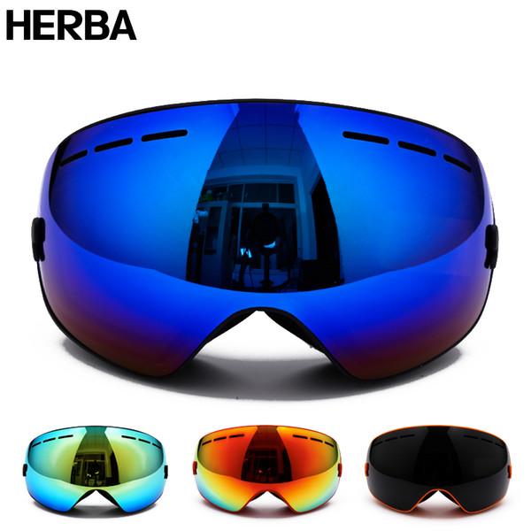 37bfc82d0aea New HERBA brand ski goggles Ski Goggles Double Lens UV400 Anti-fog Adult  Snowboard Skiing
