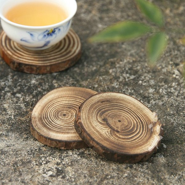 Circular Pine Cup Mats Charring Annual Ring Solid Wood Insulation Pad Creative Teahouse Sip Tea Saucer 2 6cb Y