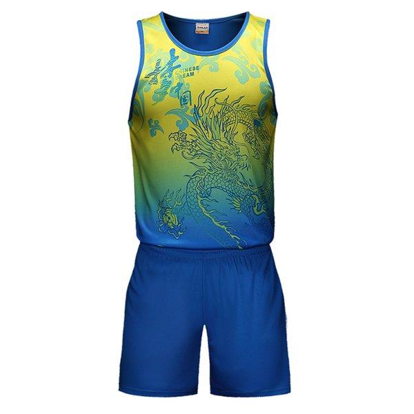 Sportsuit Ste Männer Ärmellose Tops Short 2018 neue Drachen Muster Sport Anzug stricken Polyester atmungsaktiv Spiel Team Sportswear