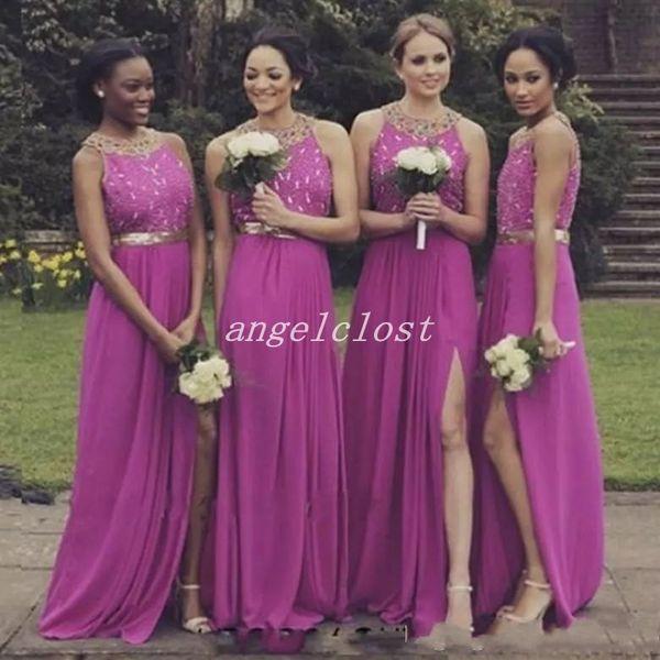 Roxo País Dama de Honra Vestidos Lado Separação Contas de Ouro Chiffon Jardim Da Praia Do Casamento Convidados Vestidos de Dama De Honra Vestido Africano Plus Size