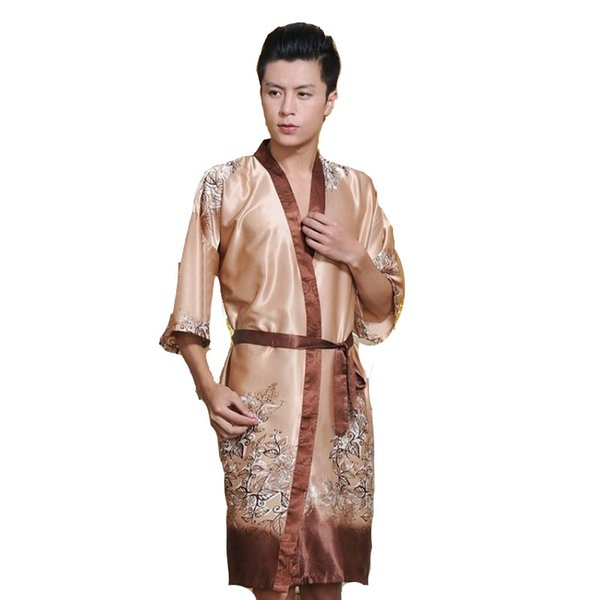 Novelty Male Silk Kimono Bath Robe Gown Chinese Men Rayon Nightwear Unisex V-Neck Sleepwear Pajama Pijamas 011301