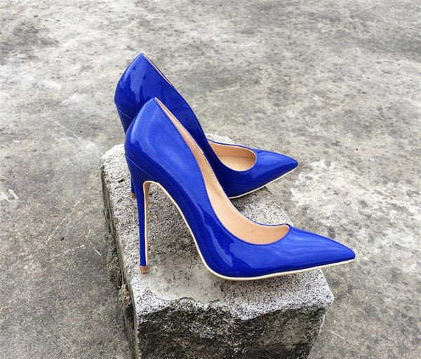 Free Shipping lady women woman 2019 new Navy Patent Leather high heels shoes Stiletto Heels Poined Toes Wedding HEELED SHOES pump 12cm