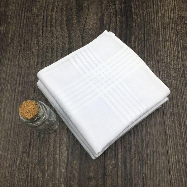 12PCS Lot 100 % Cotton Handkerchief White Hanky Pocket Squares Hanky 40cm 2018 Hot Pure Color Small Square Handkerchief